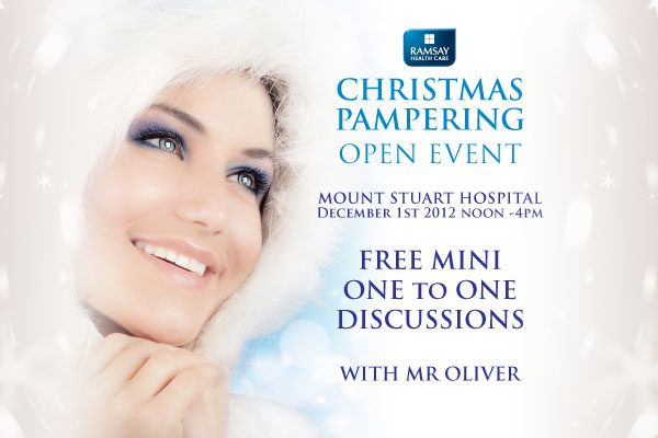 David Oliver offering free surgery mini discussions at Christmas Pamper Event 2012 in Torquay Mount Stuart