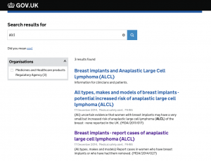 Visit Department of Health (GOV UK website) about ALCL Breast Augmentation advice