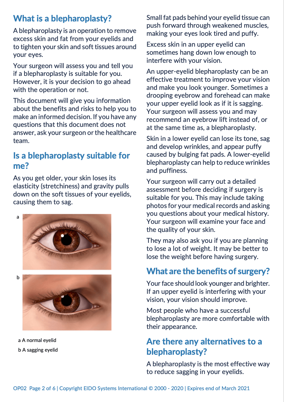 Blepharoplasty with David Oliver Cosmetic Surgery - Ramsay Health Information Leaflet
