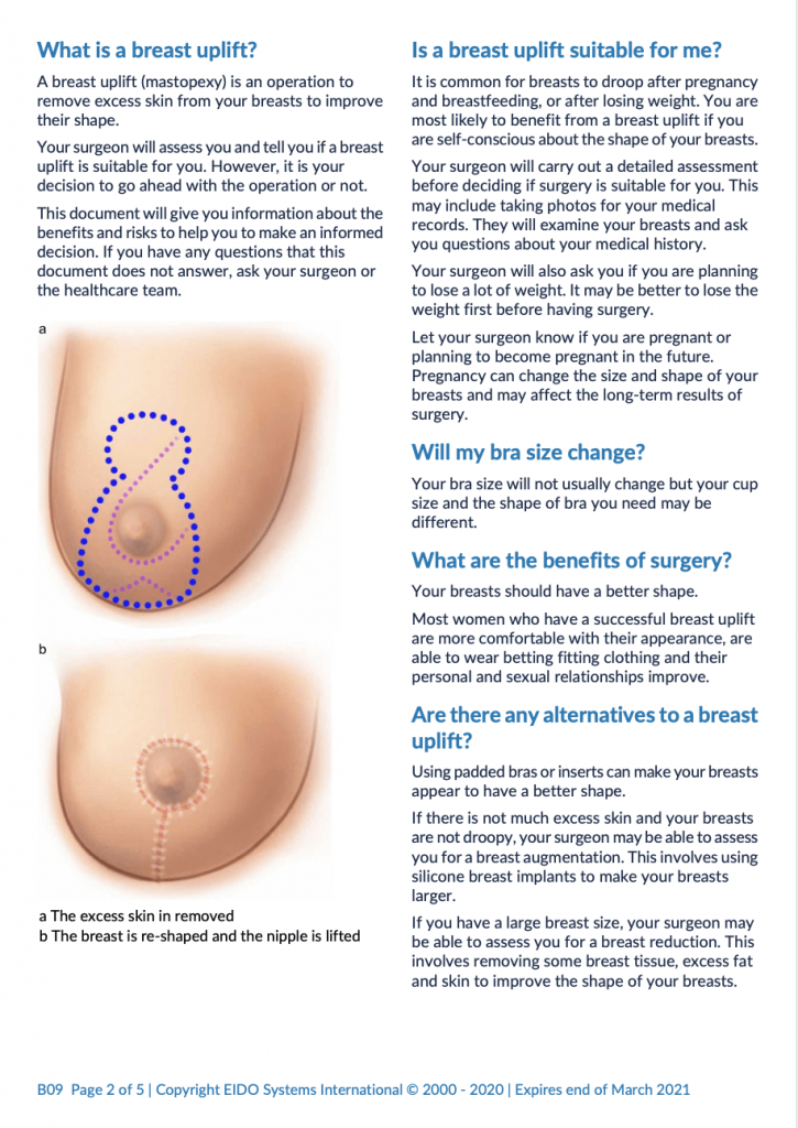 Breast Uplift with David Oliver Cosmetic Surgery - Ramsay Health Information Leaflet