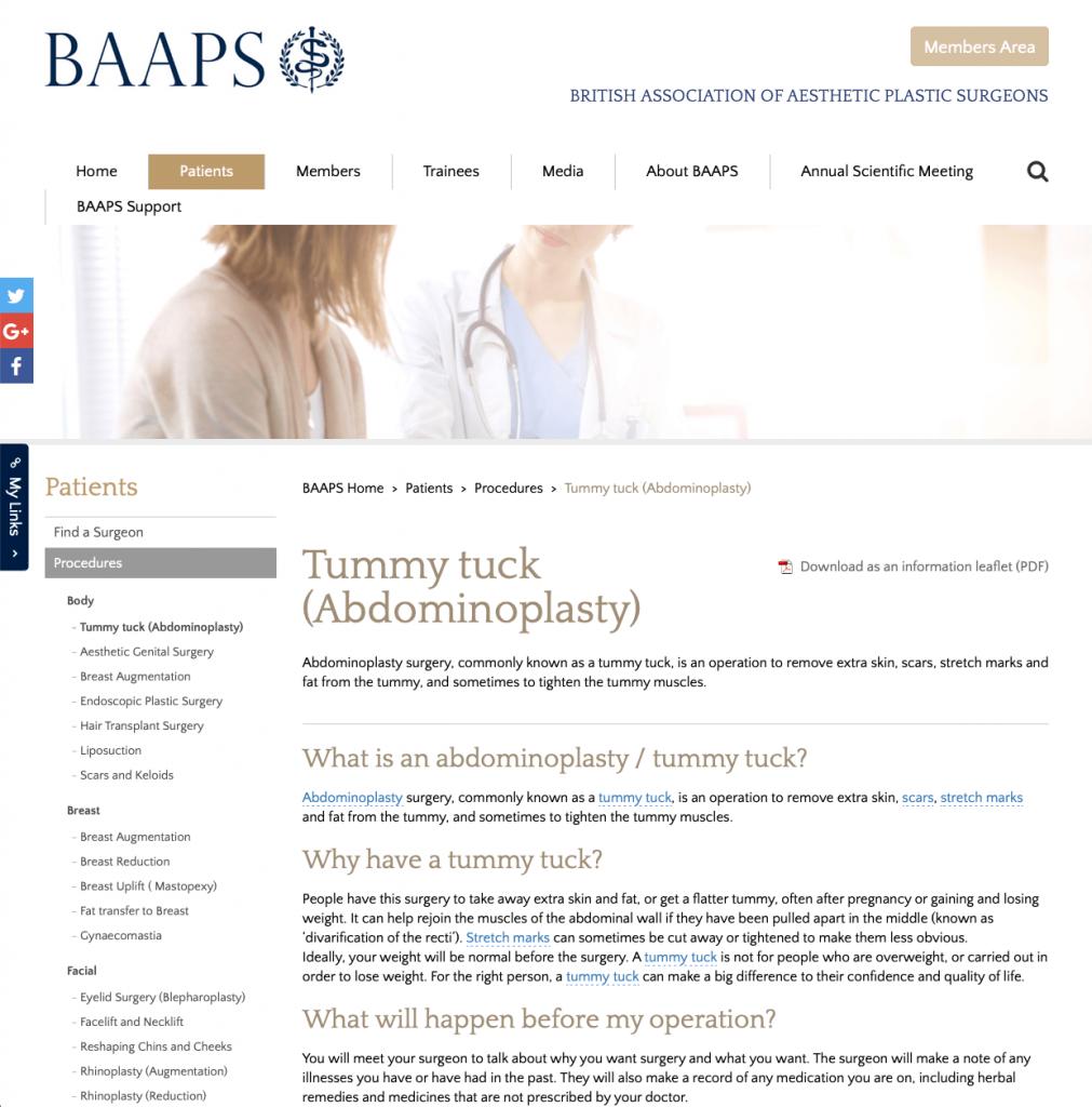 BAAPS Abdominoplasty website patient guidance David Oliver