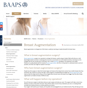 BAAPS Breast Augmentationwebsite patient guidance David Oliver