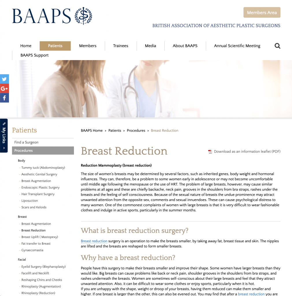 BAAPS Breast Reduction website patient guidance David Oliver