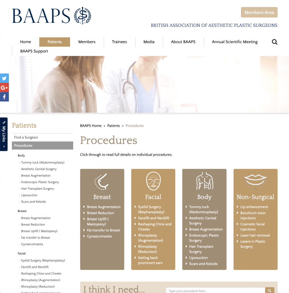 BAAPS Cosmetic Surgery website patient guidance David Oliver Cosmetic Surgeon