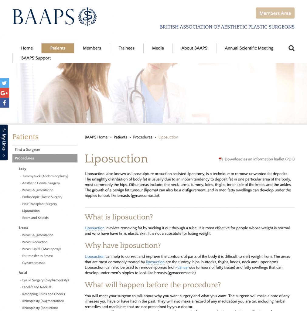 BAAPS Liposuction website patient guidance David Oliver