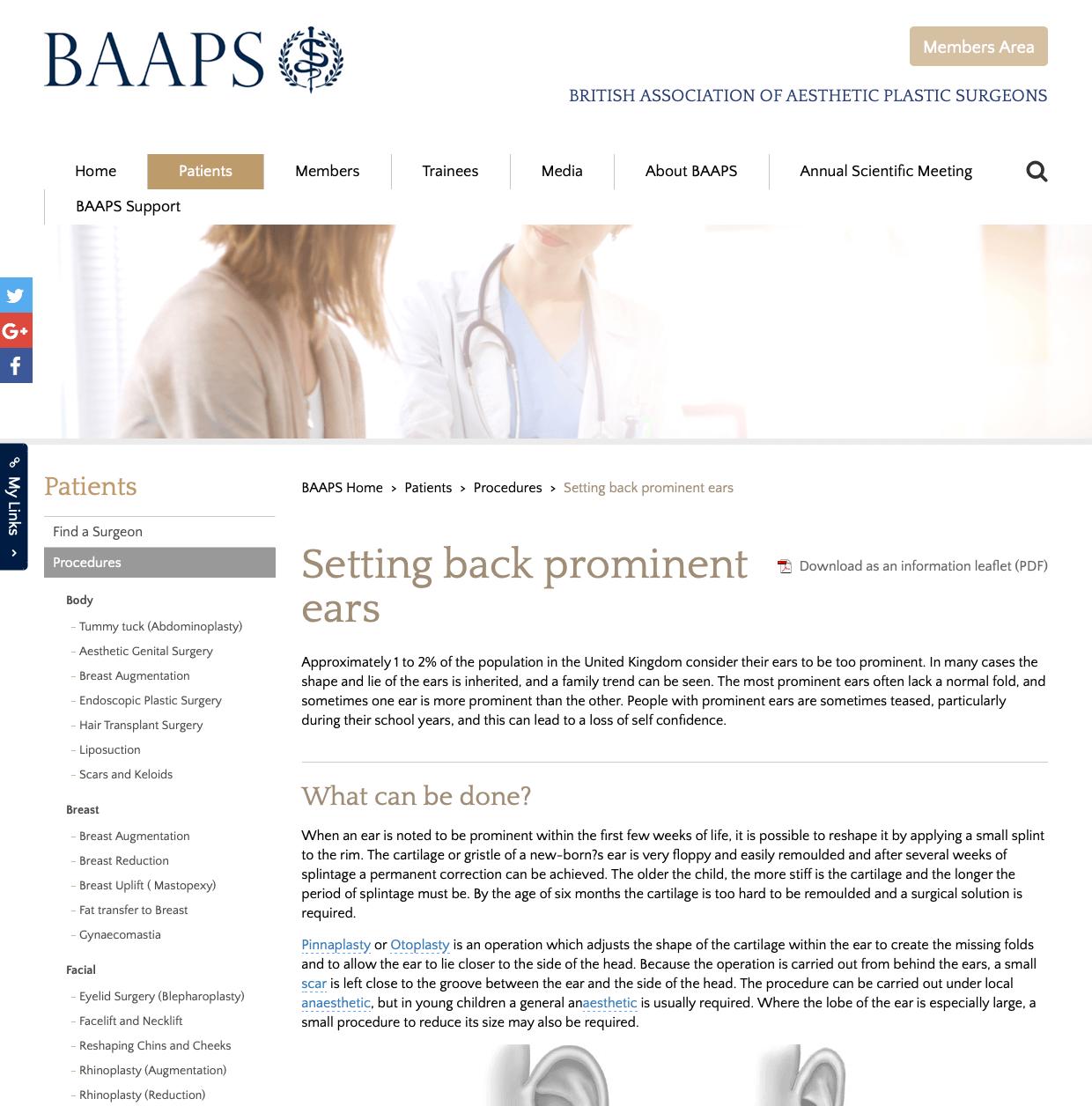 BAAPS Otoplasty website patient guidance David Oliver