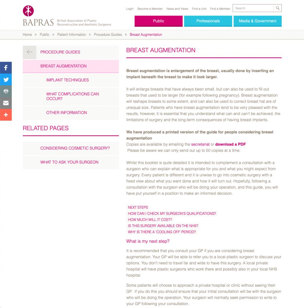 BAPRAS Breast Augmentation website patient guidance David Oliver Cosmetic Surgeon