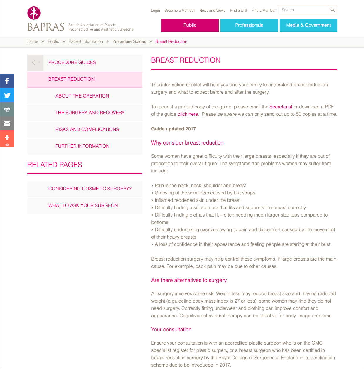 BAPRAS Breast Reduction website patient guidance David Oliver Cosmetic Surgeon