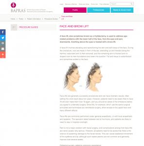 BAPRAS Facelift website patient guidance David Oliver Cosmetic Surgeon
