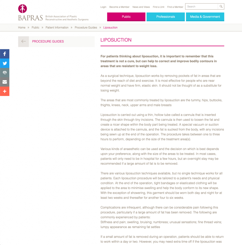 BAPRAS Liposuction website patient guidance David Oliver Cosmetic Surgeon