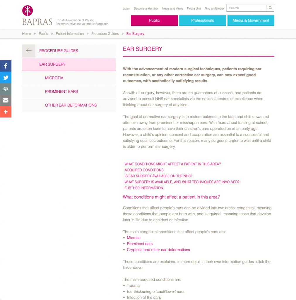 BAPRAS Otoplasty website patient guidance David Oliver Cosmetic Surgeon