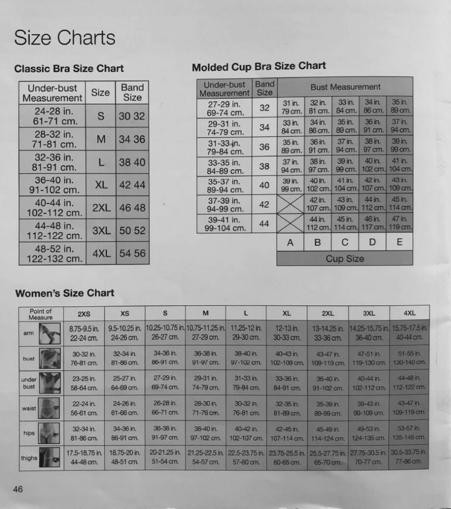 Breast implants Garment Size Guide David Oliver Cosmetic Surgeon