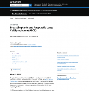 Government ALCL Breast Implant guidance website