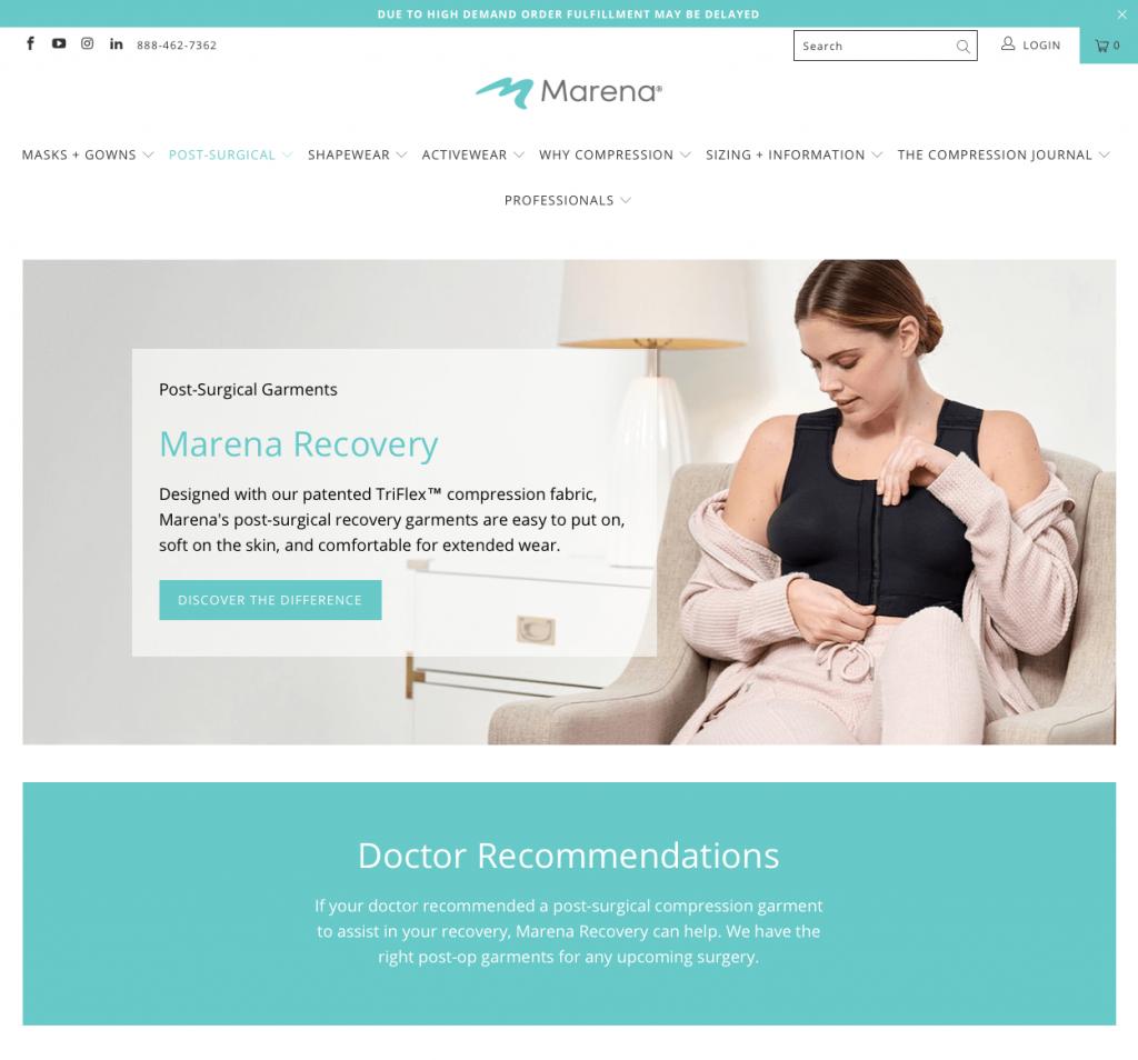 Marena Breast Surgery Garments website David Oliver Cosmetic Surgeon
